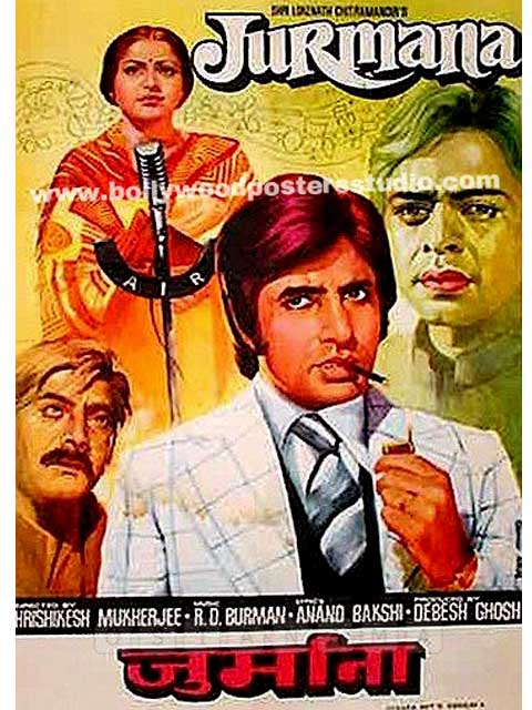 Hand Painted Bollywood Movie Posters Jurmana Amitabh Bachchan