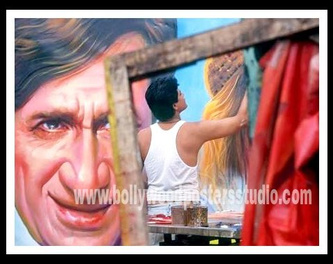 Hand painted Bollywood poster film fan artists Mumbai