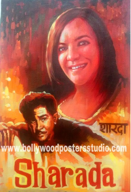 Editing photo in indian bollywood movie poster customized brush and oil paint art