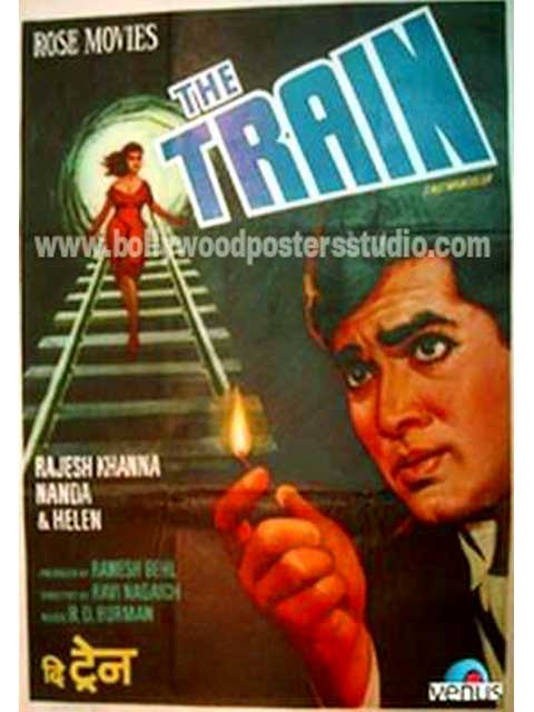 The train hand painted bollywood movie posters