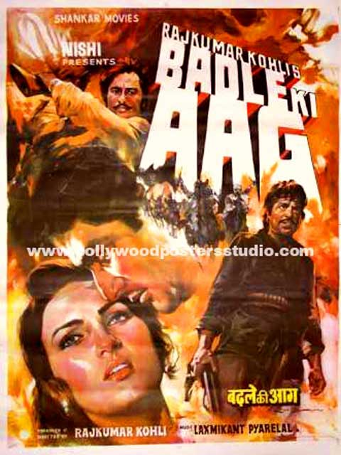 Hand painted bollywood movie posters Badle ki aag
