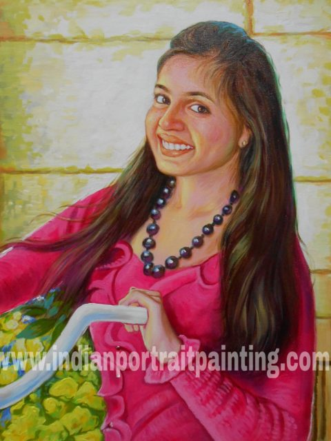 Original portrait painting from photo