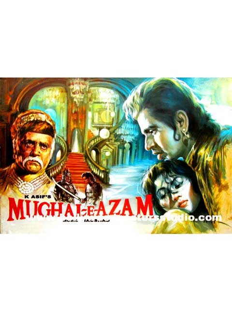 Hand painted bollywood movie posters Mughal-e - azam