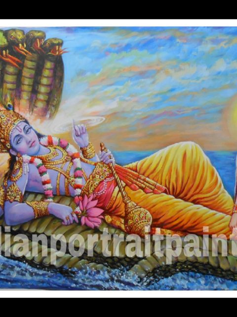 100% original canvas paintings and finest artist - Lord vishnu and laxmi ji hand painted
