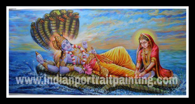 100% original canvas paintings and finest artist - Lord vishnu and laxmi ji hand painted