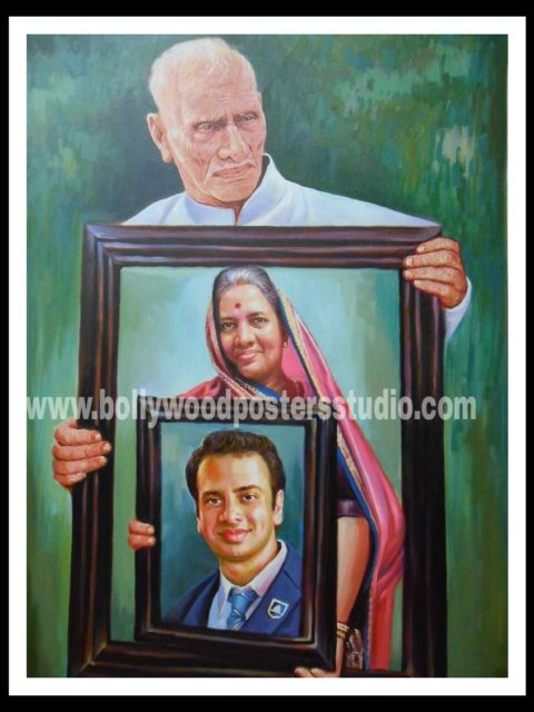 Photo to portrait oil canvas painting