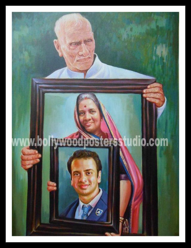 Photo to portrait oil canvas painting