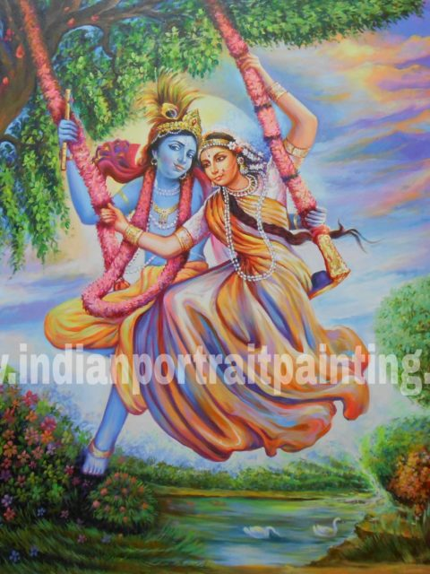 Best canvas art on oil canvas - Radha Kishan hand painted reproduction