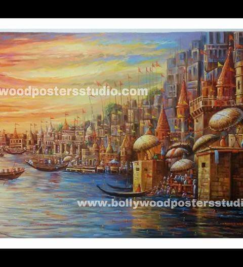 Varanasi ghat paintings on canvas - Indian Reproduction