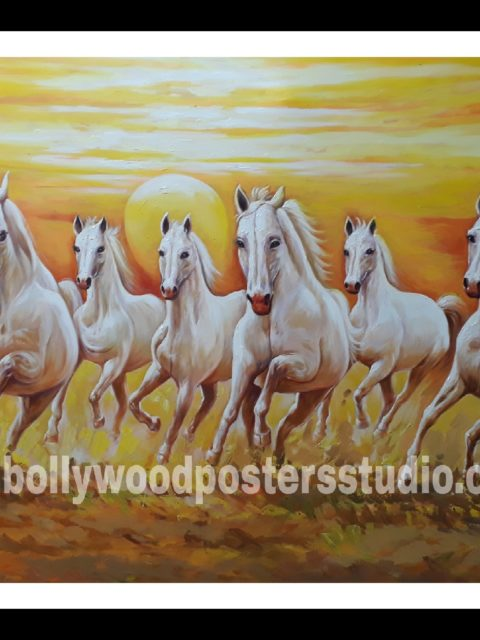 7 horse vastu oil canvas paintings - good luck