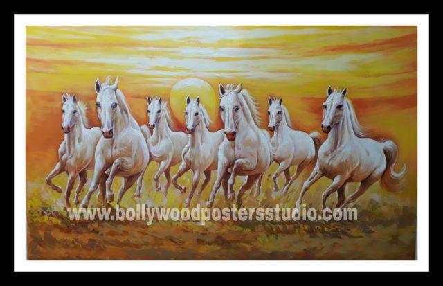 7 horse vastu oil canvas paintings - good luck