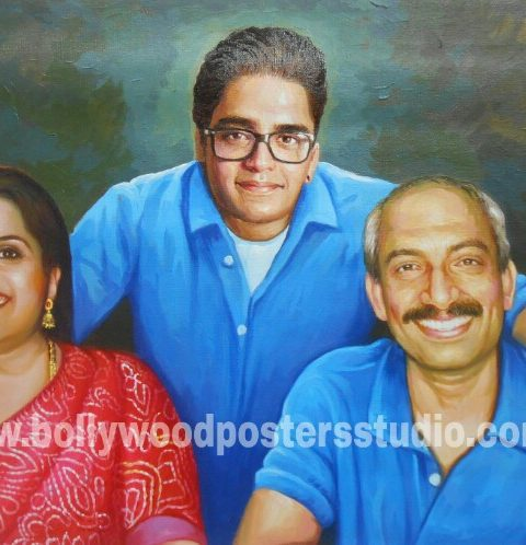 Realistic oil portrait painting on canvas India mumbai