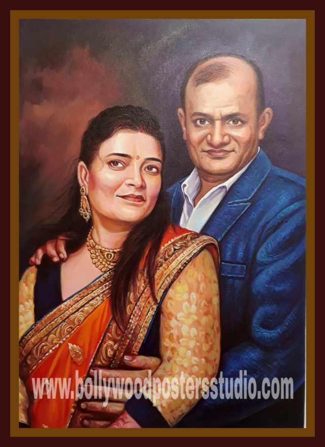 custom canvas portrait painting for anniversary
