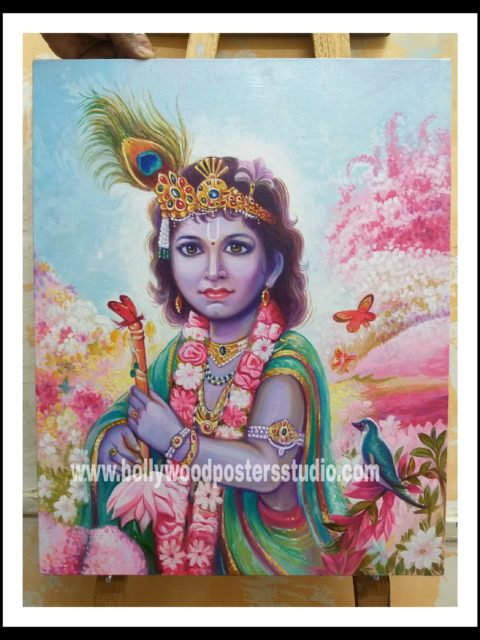Hand painted in oil paint bal krishna
