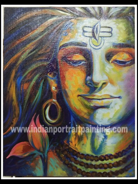Canvas oil paintings artist - knife art abstract lord shiva