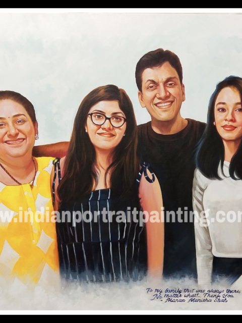 Convert photo to family portrait oil painting
