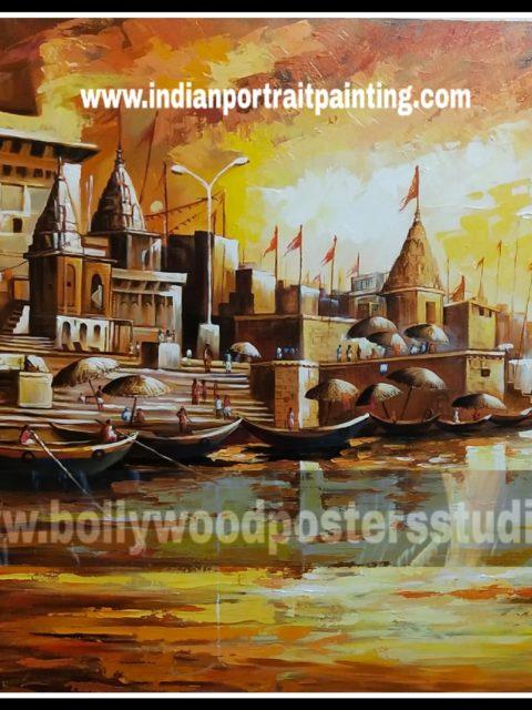 Hand painted oil painting - Varanasi ghat