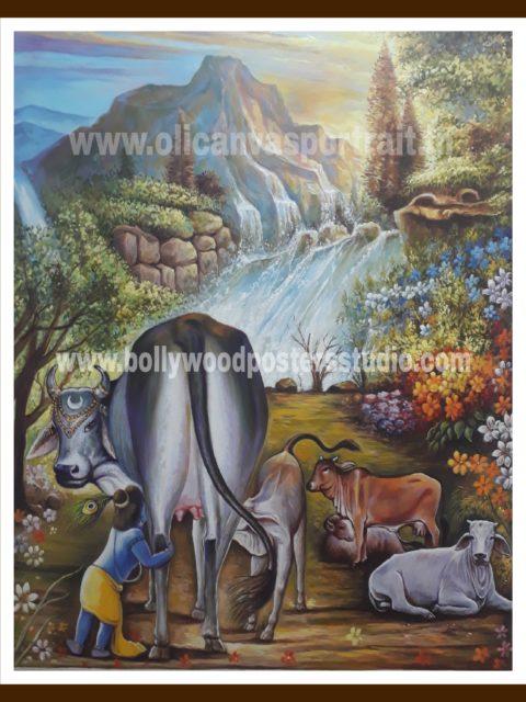 Hand painted oil paintings - krishna & gau mata