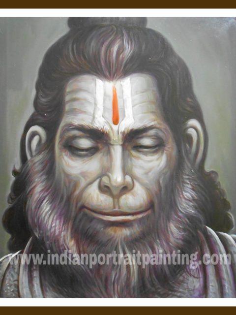 Hanuman ji painting on oil canvas