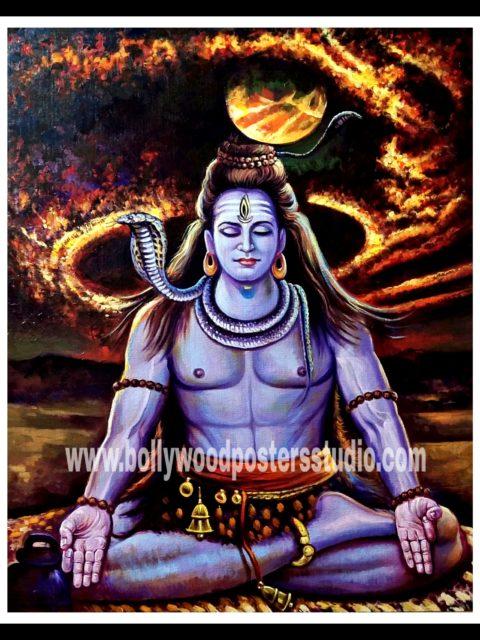 Original oil painting at best price sale - Mahadev shiva