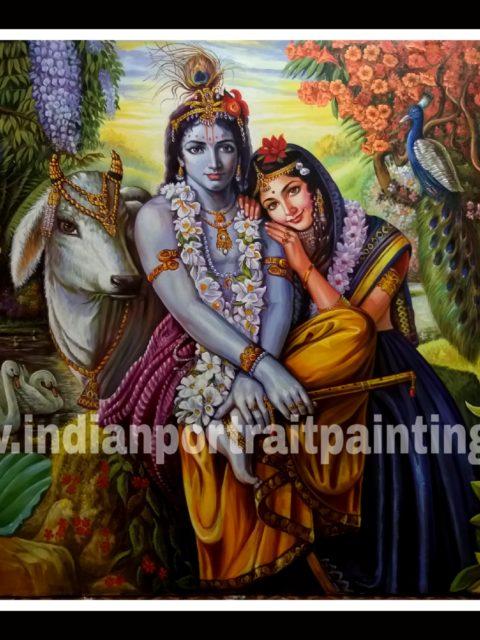 Radha Kishan in vrindhavan oil paintings - original hand painted